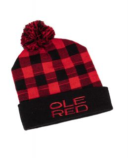Ole Red Buffalo Check Pom Beanie